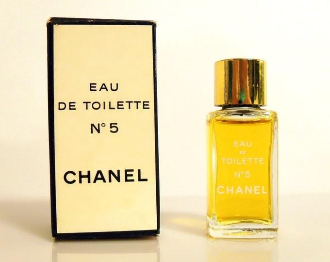 Vintage 1970s Chanel No 5 by Chanel 0.13 oz Eau de Toilette Splash Mini Perfume Miniature and Box