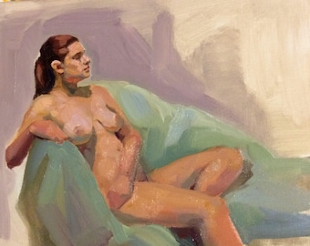 original oil painting 8x10 inch figure sketch