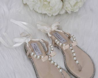 Wedding sandals etsy pearl wedding sandals t strap beige pearl with rhinestones flat sandal with satin ankle junglespirit Image collections