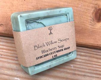 Blueberry Sage scented Avocado Cucumber Homemade Soap, 4 ounces