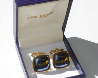 Vintage Black Cufflinks - Gold Tone Large Square Mens Accessories 1970s