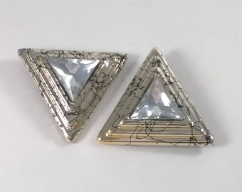 Vintage Rhinestone Shoe Clips - Clip on Triangle Fashion Accessories  - Costume Jewelry - 1980s