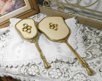 Hair Brush and Mirror Gold Vanity Set By Stylebuilt, Vanity Set, Dresser Set, Gold Mirror and Hair Brush Set,