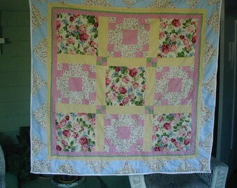 """Vintage Baby Quilt, Pieced Patchwork, 40"""" Square , Crib Quilt, Play Quilt, Darling Cottage Chic Fabrics, Pastel Multi-Colors"""