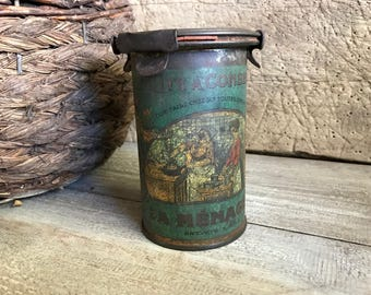 Antique French Conserve Preserve Tin, Original Lid, French Cuisine. French Farmhouse