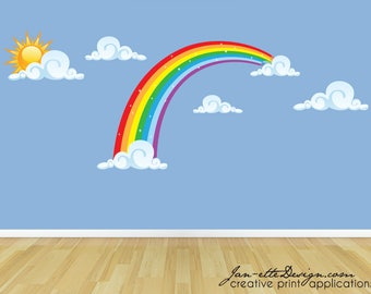 Large Rainbow Fabric Wall Decal with Sun and Clouds,Large Rainbow Wall Sticker