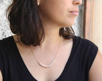 Pearl bar necklace, Bridal pearl necklace, Dainty bridal pearl necklace, Gold pearl necklace, Gold filled pearl necklace, Small pearls
