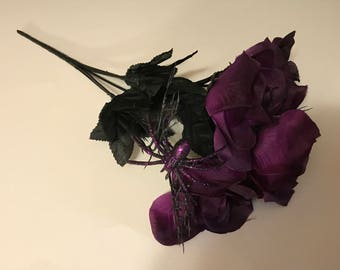 4 bloom dark purple and black with purple glitter spider rose boquet, 12 inch long (EE)