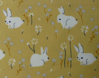 1/2 Yard Organic Cotton Fabric - Birch Fabrics Little - White Bunny Poplin