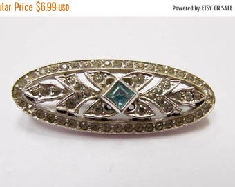 ON SALE Vintage Blue and Clear Rhinestone Pin Item K # 908