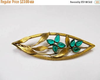 ON SALE Vintage Green Glass Floral and Leaf Pin Item K # 2664