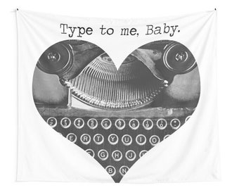Typewriter Wall Tapestry, Writing, Author, Typing, Journalism, Boho