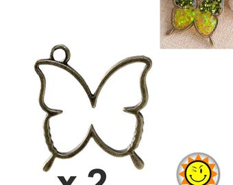 x 2 pendant setting for resin fimo polymer bronze Butterfly
