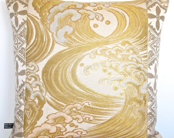 Stunning Metallic Gold Hokusai Wave inspired Luxury Pillow Cushion Ltd numbered edition made from rare Vintage Japanese Obi Silk and Velvet