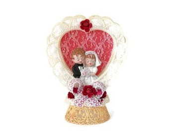 Bisque Bride and Groom Dolls Wedding Topper with Lattice Heart Frame and Lace Trim