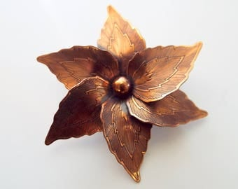 Mid Century Copper Floral Leaf Etched Brooch Pin