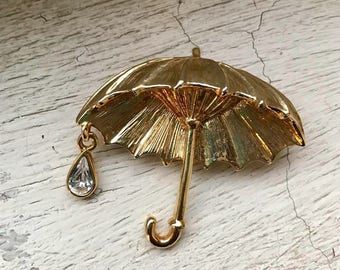 Vinatge umbrella brooch with crystal raindrop