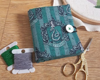 Harry Potter Slytherin themed needle book, needle case, holder, storage, embroidery gift