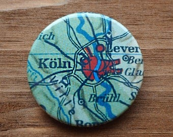 Pinback Button, Germany, Cologne, Ø 1.5 Inch Badge, Atlas, Travel, vintage, fun, typography, whimsical