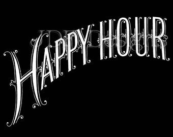 Instant Digital Download, Vintage Victorian Graphic, Happy Hour Antique Chalkboard Text Lettering, Printable Image Scrapbook Typography Sign