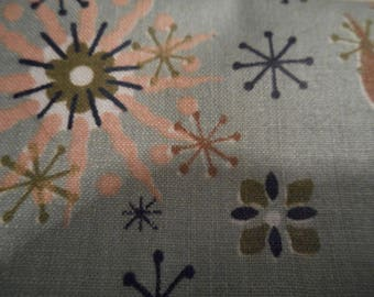 Vintage 1940's, 50's, 60's Mid Century Atomic Stylized Floral Medallion Pattern Cotton Fabric, 4 yards plus