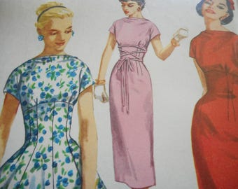 Vintage 1950's Simplicity 1510 Dress Sewing Pattern Size 12 Bust 30
