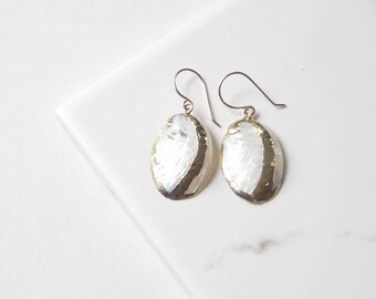 Real Abalone Shell Earrings with Gold Filled Ear Wires. Beach, Wedding, Everyday Jewelry