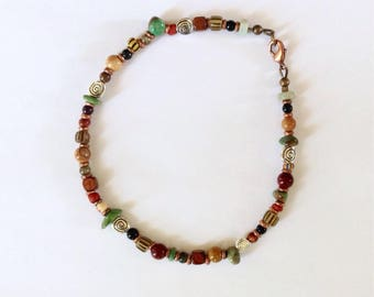 Mens Brown, Yellow and Maroon Beaded Anklet 10 1/2 Inches