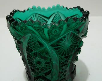 Vintage Imperial Glass Ocatgon Green Toothpick Holder
