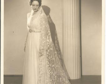 Vintage 1950's 8x10 Bride Photograph Hollywood California
