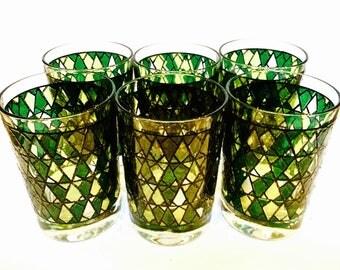 Mid Century Barware Stain Glass Diamond Pattern, Set of 6 Drinking Glasses