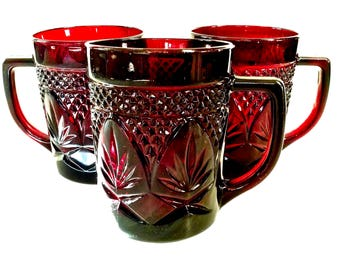 Ruby Red Luminarc Cristal D'arques Durand France, Set of 3 Cups/Mugs with Handles