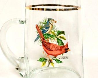 Mid Century West Virginia Glass Songbird Pitcher Juice/Ice Tea/Water/Bar Pitcher, Cardinal and Blue Jay