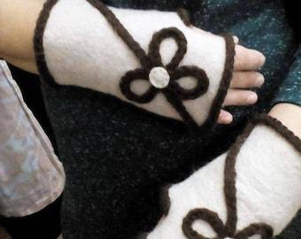 Beautiful Warm Felted Woolen Mittens Handmade Gift