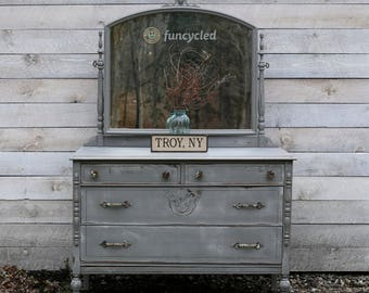 Gray Mirrored Dresser