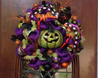 Whimsical Spider and Green Pumpkin Wreath