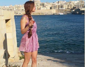 bohemian summer tunic // block printed indian silk // hippie short dress // fun summer top // flower printed ethnic silk top