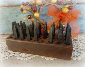 "antique die stamp tools alphabet punch stamp set 1/16"" letters blacksmith steel in original wooden box metal stamping tools"