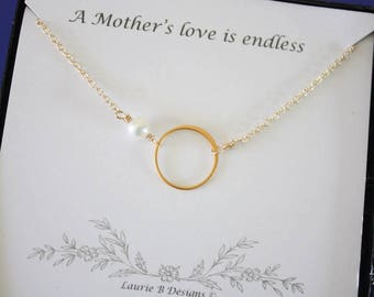 2 Mother Necklace Gifts, Mother Karma Necklace, Thank You Card, White Pearl, Infinity Necklace, Gold Necklace Karma, Mother of the Bride