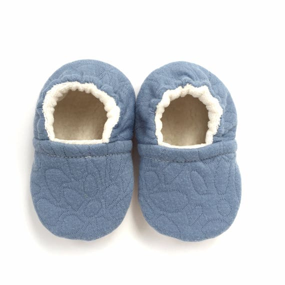 Blue Quilted Soft Sole Vegan Baby Shoes