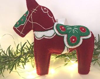 Dalahäst ~ Hand Embroidered Swedish Dala Horse Felt Plushie Ornament ~ Made To Order