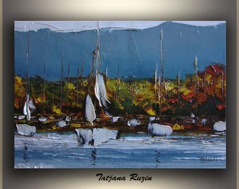 Sailboat, Abstract, Oil Painting, Blue Brown, Art, ORIGINAL Abstract Painting, Impressionist, palette knife, Puerto, Mountain, Made to order
