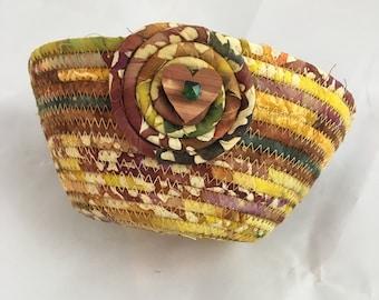 Medium Coiled Rope Basket - Handmade in Gold Purple Batik