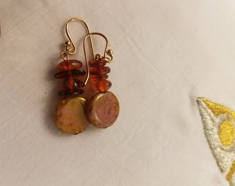 Amber and lucite w/rose gold hook earrings
