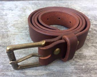 Brown leather belt, Solid brass buckle, Brown belt, Mens belt, Womens belt, Full grain, Wide belt, Skinny belt, Dress belt, Casual belt