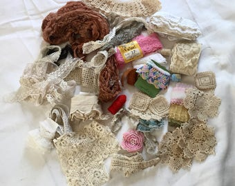 Vintage Lace Trim Lot Bits And Pieces