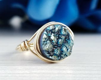 Druzy Ring, Druzy Jewelry, Bridesmaid Gift, Gold Wire Wrapped Ring