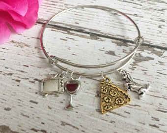 Perfect Friday Night Adjustable Silver Charm Bangle Bracelet for Dog Moms