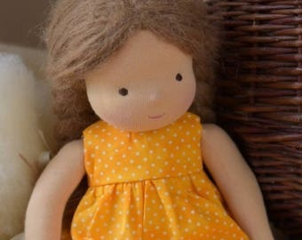 "Waldorf Doll 14"" Tall, Brown hair ( made to order )"