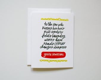 To the One Who - Changes Diapers - Card for Him - Card for Husband - Father's Day - Father's Day Card